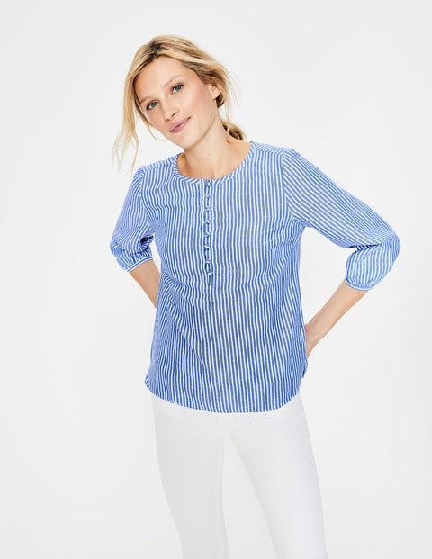 Natalia Top - Cabin Blue & Ivory Stripe