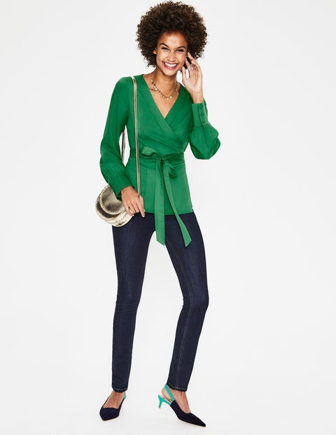 Belle Wrap Top - Forest Green