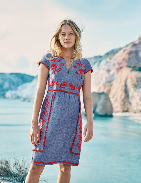 Bea Linen Embroidered Dress - Chambray & Red Pop Embroidery
