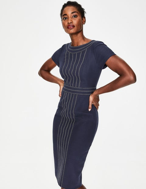 Kitty Textured Dress - Navy