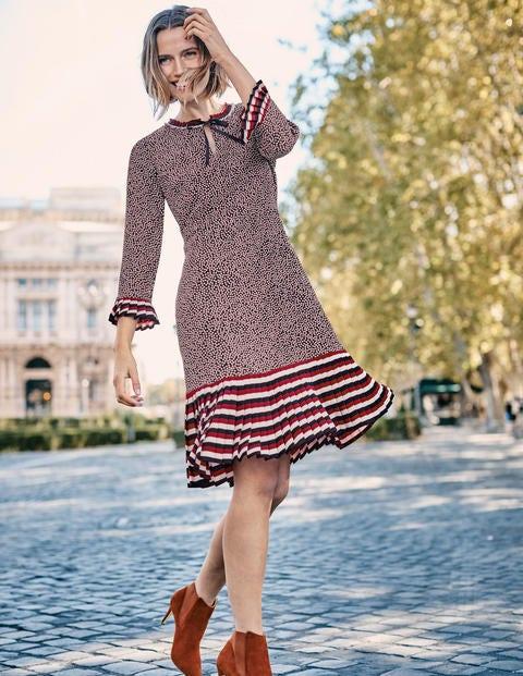Lara Kleid Mit Plisseefalten - Kreiderosa, Gruppierte Tupfen