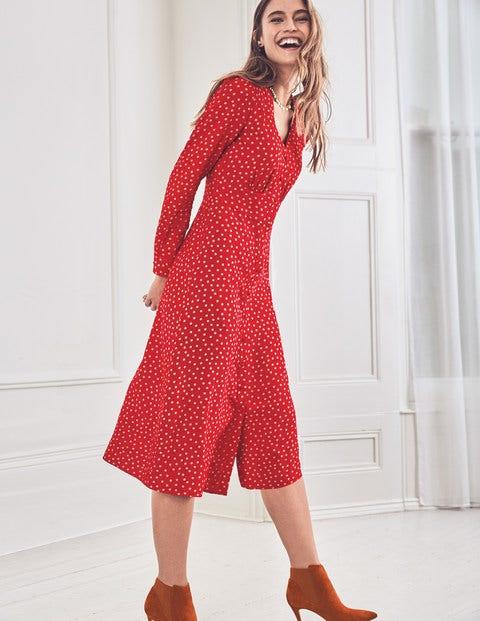 Elsie Midi Dress - Poinsettia Random Spot