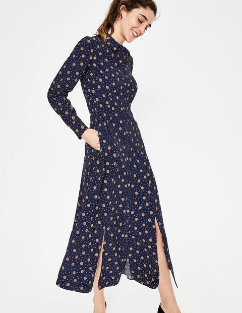Charlotte Shirt Dress - Navy & Truffle Spot