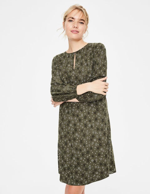 Vanessa Dress - Khaki Sketchy Stars