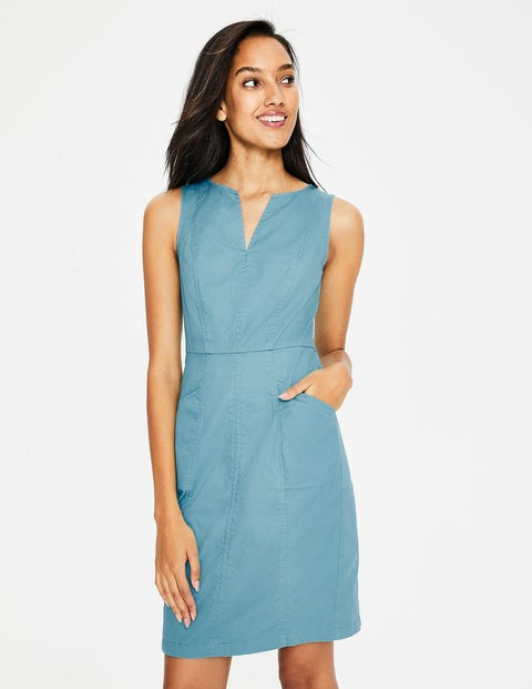 Helena Chino Dress - Heron Blue
