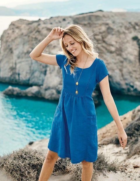 Alberta Linen Dress - Cyan