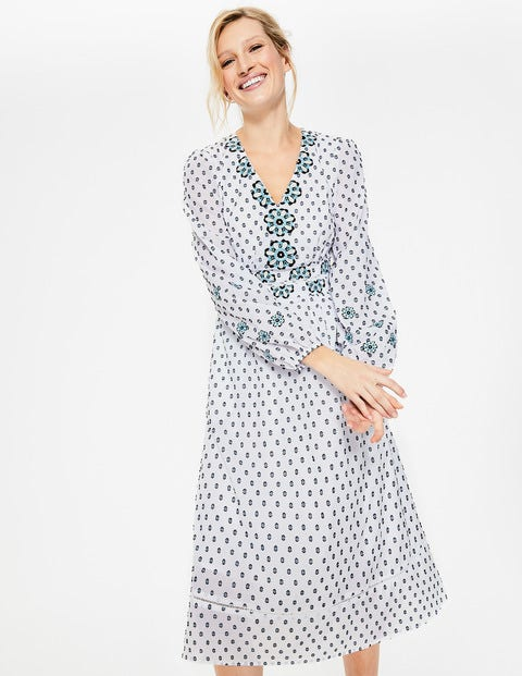 Flossie Embroidered Midi Dress