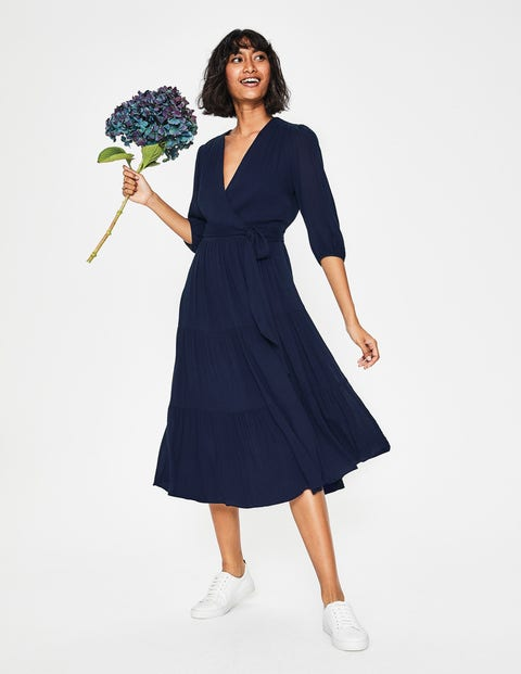 Aurora Midi Wrap Dress - Navy