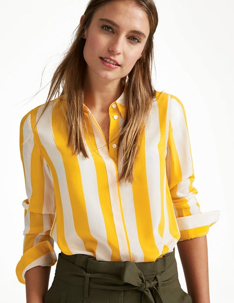 Silk Shirt - Ivory & Happy Stripe