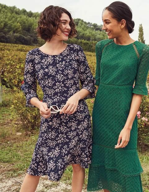 Indie Kleid - Navy, Blumenmuster, Getupft