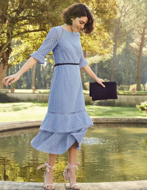 Lana Lace Midi Dress   Hazy Blue by Boden
