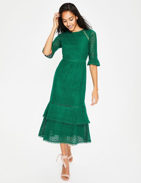 Lana Lace Midi Dress - Forest