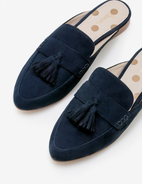 Katie Backless Loafers - Navy