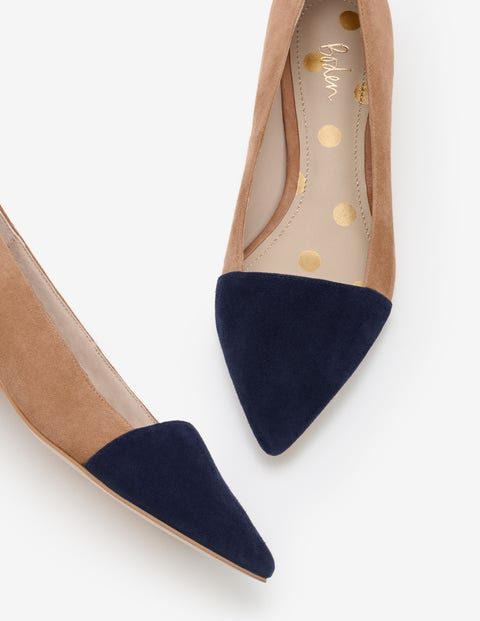 Josie Low Heels - Navy and Soft Truffle