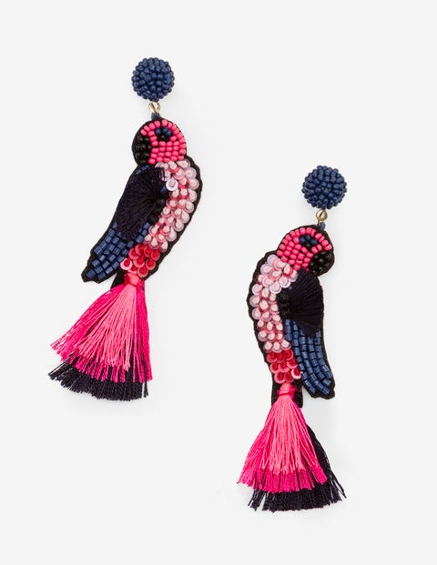Parrot Earrings - Navy