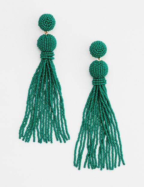 Beaded Tassel Earrings - Herbarium