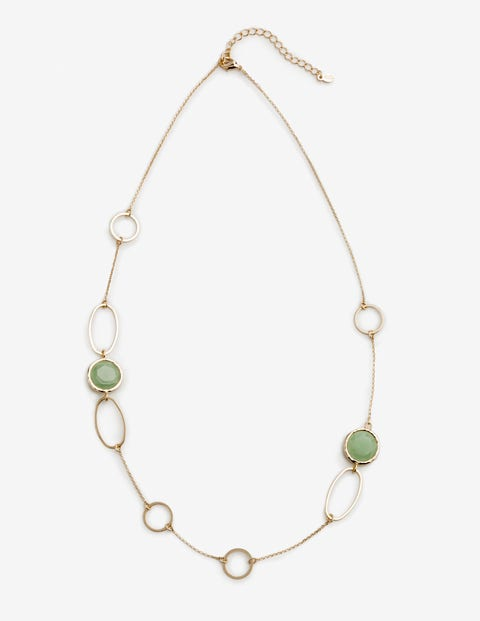 Semi-Precious Shapes Necklace - Gold and Green Aventurine
