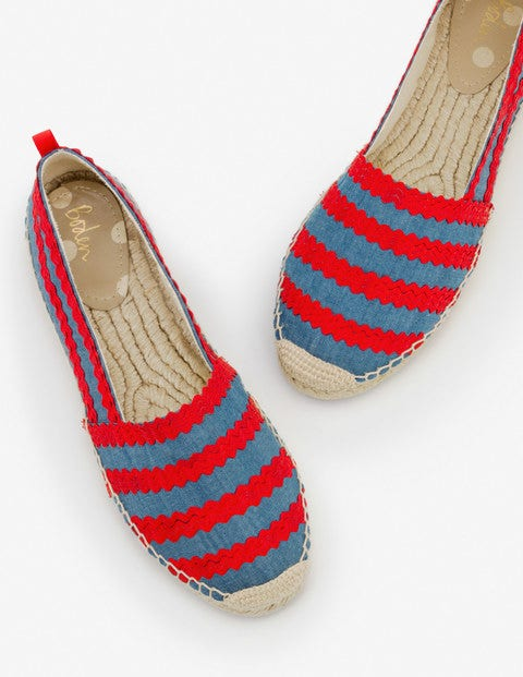 Violette Espadrilles - Chambray and Red Pop Ric Rac