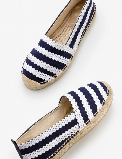 Violette Espadrilles - Navy and Ivory Ric Rac