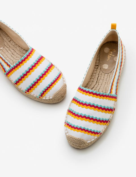 Violette Espadrilles - White and Rainbow Ric Rac