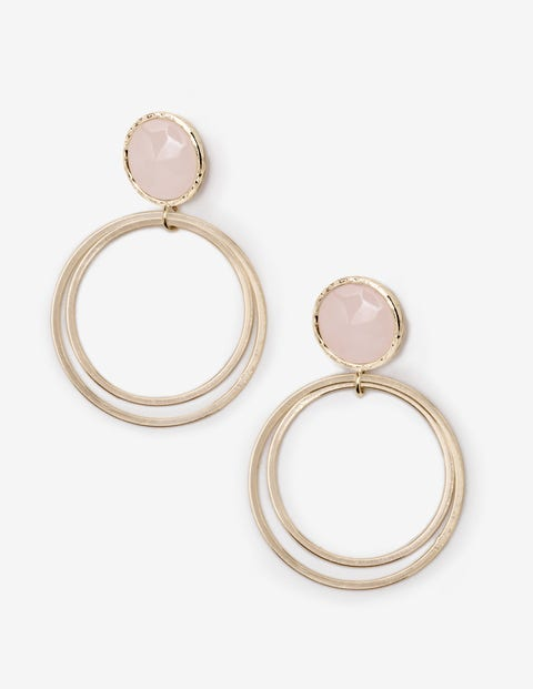 Semi-Precious Earrings - Gold and Rose Quartz