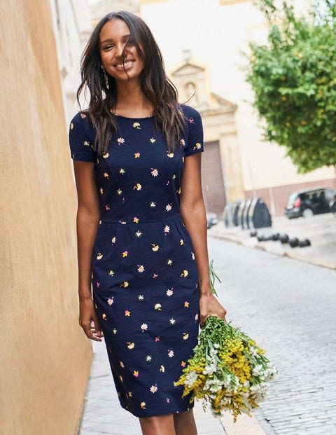 Phoebe Jersey Dress - Navy Floral Medley