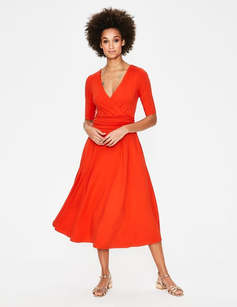 Kassidy Jersey Midi Dress - Red Pop