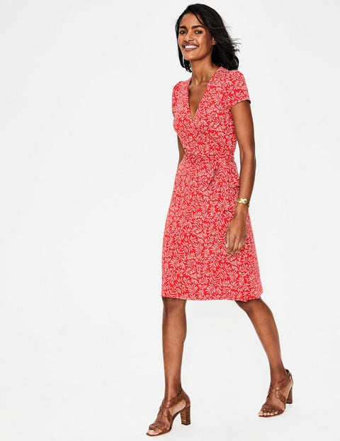 Summer Wrap Dress - Red Pop, Olive Branch