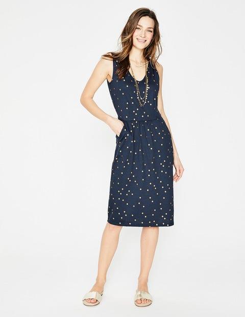 Melinda Jersey Dress - Navy Foil Spot