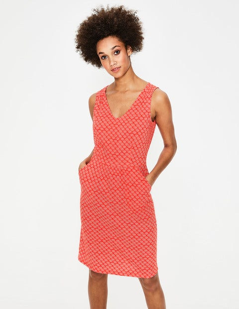 Melinda Jersey Dress - Red Pop Rainbow Dot