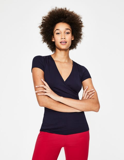 Short Sleeve Wrap Top - Navy
