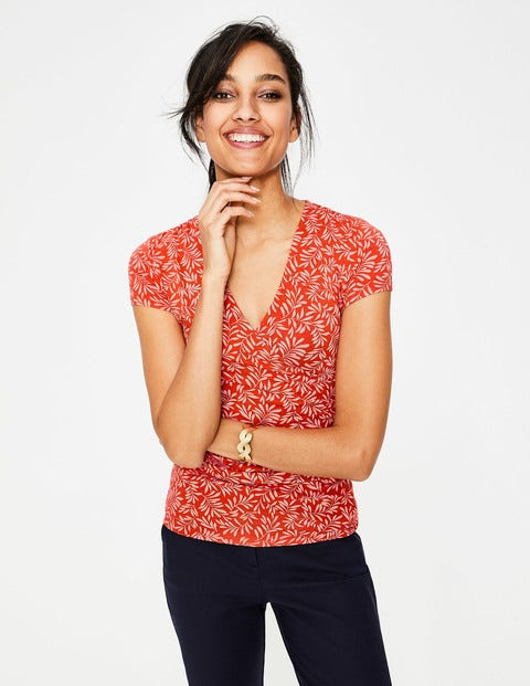 Short Sleeve Wrap Top - Red Pop, Olive Branch