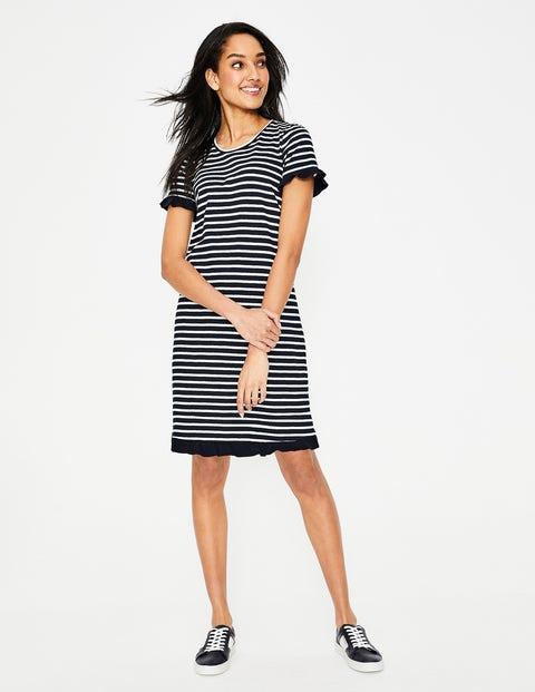 Emily Jersey Dress - Navy/Ivory Stripe Colourblock