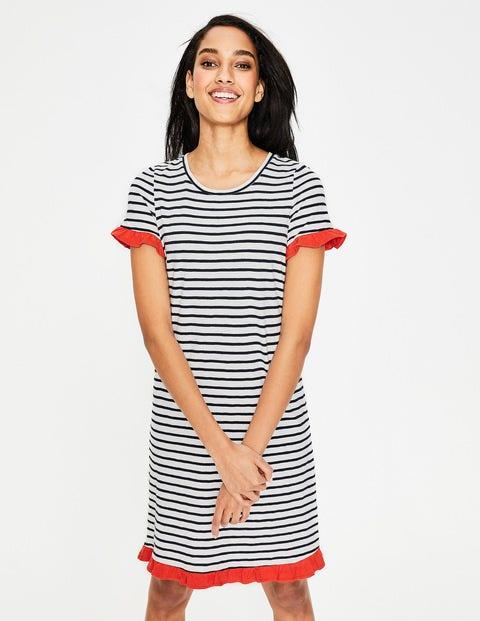 Emily Jersey Dress - Ivory/Navy Stripe Colourblock