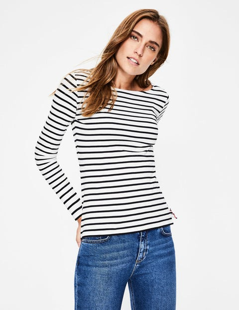 Long Sleeve Breton - Ivory/Black