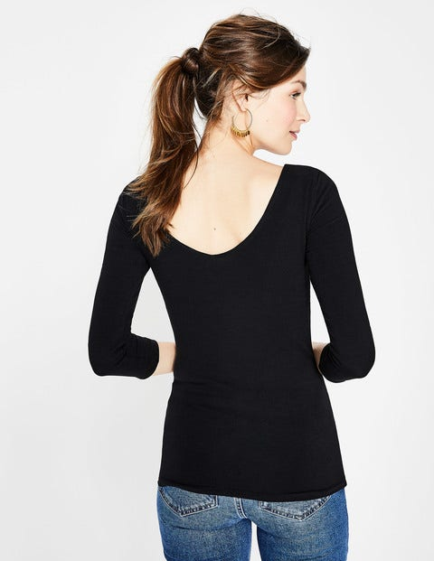 Double Layer V-Back Top - Black