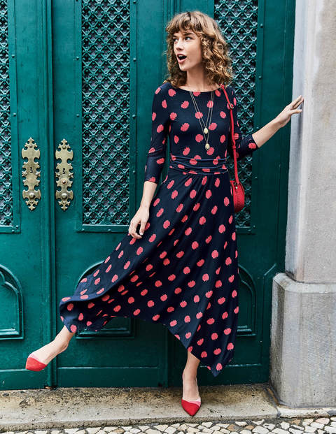 Maisie Jersey Midi Dress - Navy Carnation Bud