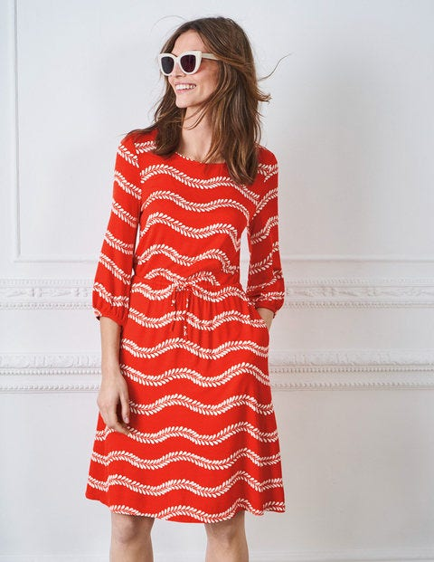 Talia Jersey Dress - Red Pop Swaying Vine