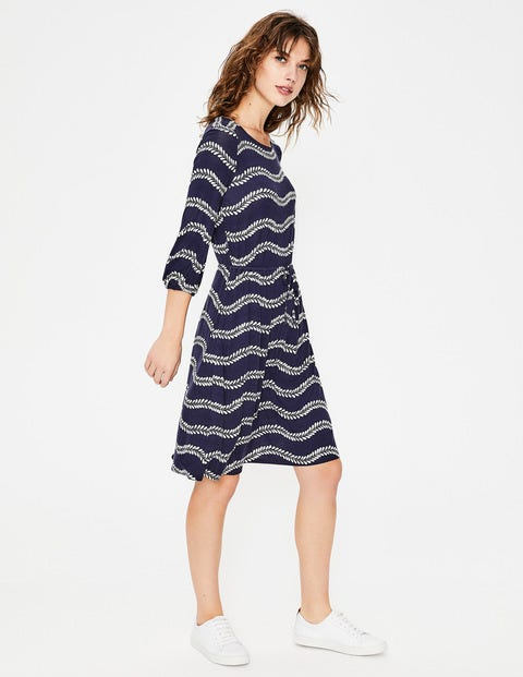 Talia Jersey Dress - Navy Swaying Vine