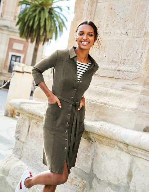 Tara Jersey Shirt Dress - Classic Khaki