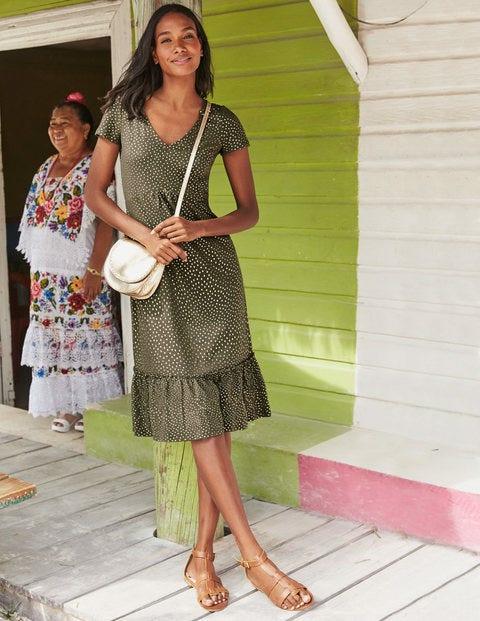 Melissa Jersey Dress - Khaki Foil Spot