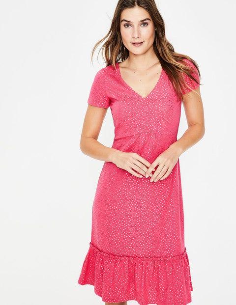 Melissa Jersey Dress - Strawberry Split Foil Spot