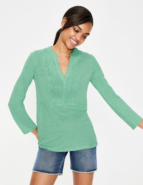 Linen Pintuck Jersey Top - Waterfall