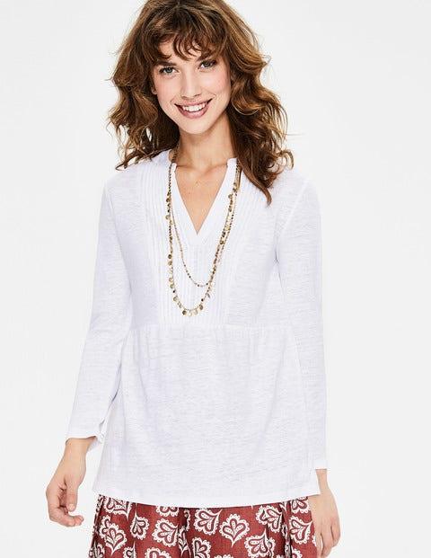 Linen Pintuck Jersey Top - White