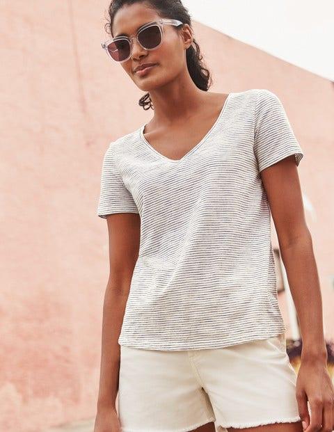 Das Baumwoll-T-Shirt Mit V-Ausschnitt - Naturweiß/Navy