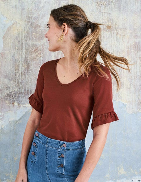 Supersoft Frilled Cuff Tee - Conker