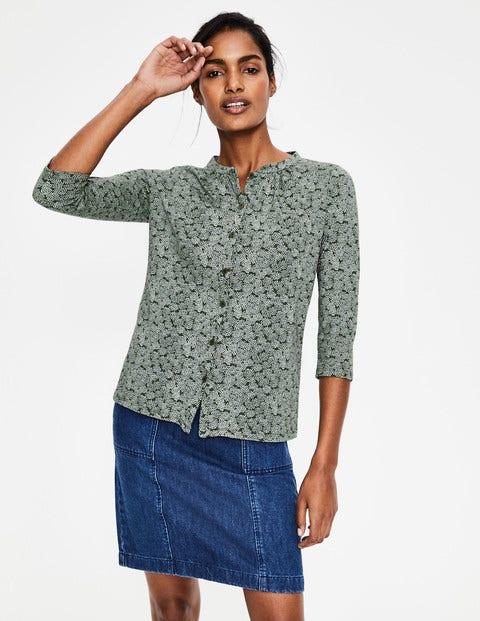 Bay Jerseyshirt - Khaki, Blumenmuster