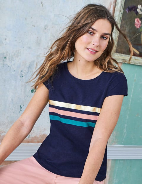 Robyn Jersey Tee - Navy/Chalky Pink Metallic