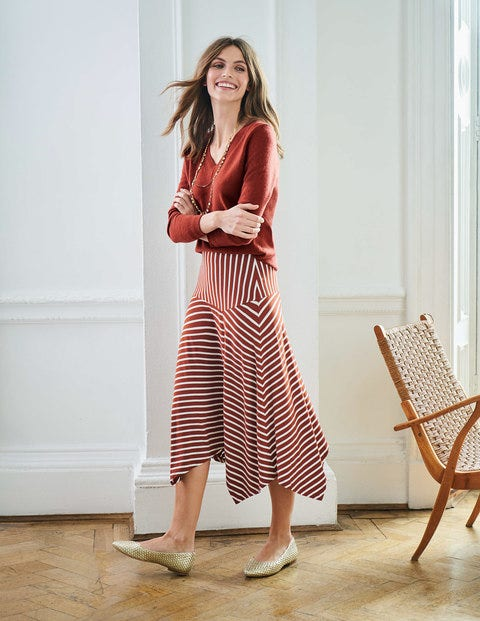 Evelyn Jersey Skirt - Conker/Ivory Stripe