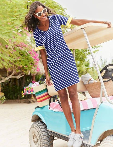 Imogen Jersey Dress - Lapis/Ivory Stripe